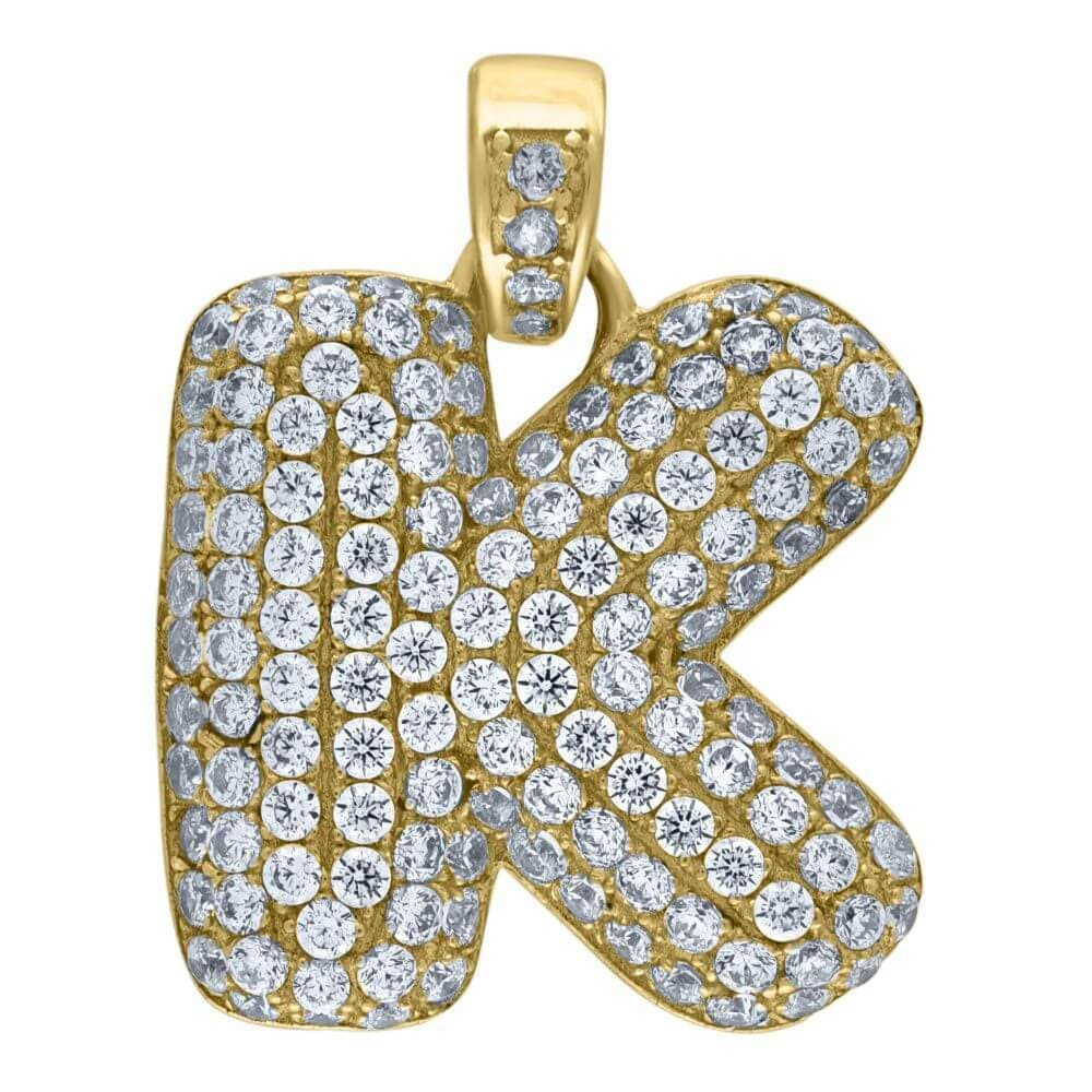 "10K Yellow Gold Iced Out CZ Bubble Initial Letter ""K"" Charm Pendant 4.6 Grams"