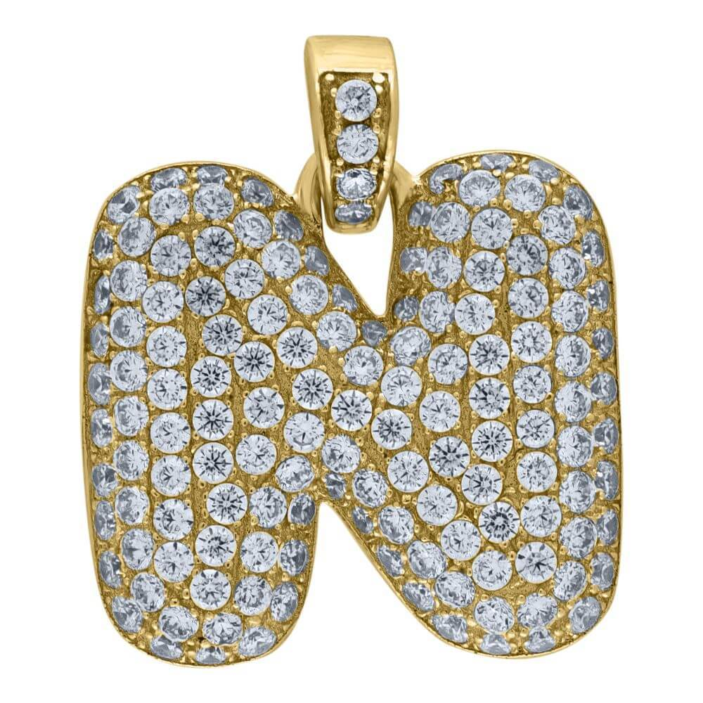 "10K Yellow Gold Iced Out CZ Bubble Initial Letter ""N"" Charm Pendant 2.7 Grams"