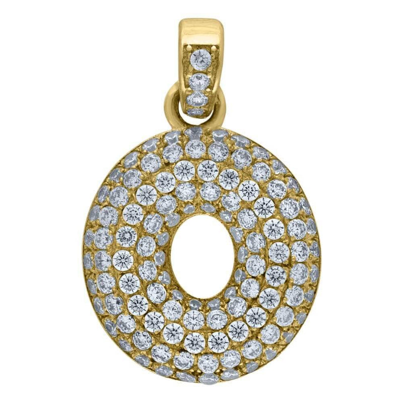 "10K Yellow Gold Iced Out CZ Bubble Initial Letter ""O"" Charm Pendant 2.2 Grams"