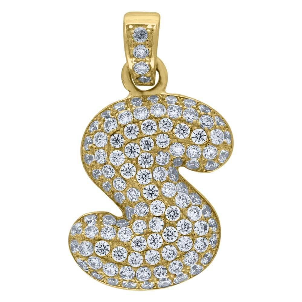 "10K Yellow Gold Iced Out CZ Bubble Initial Letter ""S"" Charm Pendant 2.2 Grams"