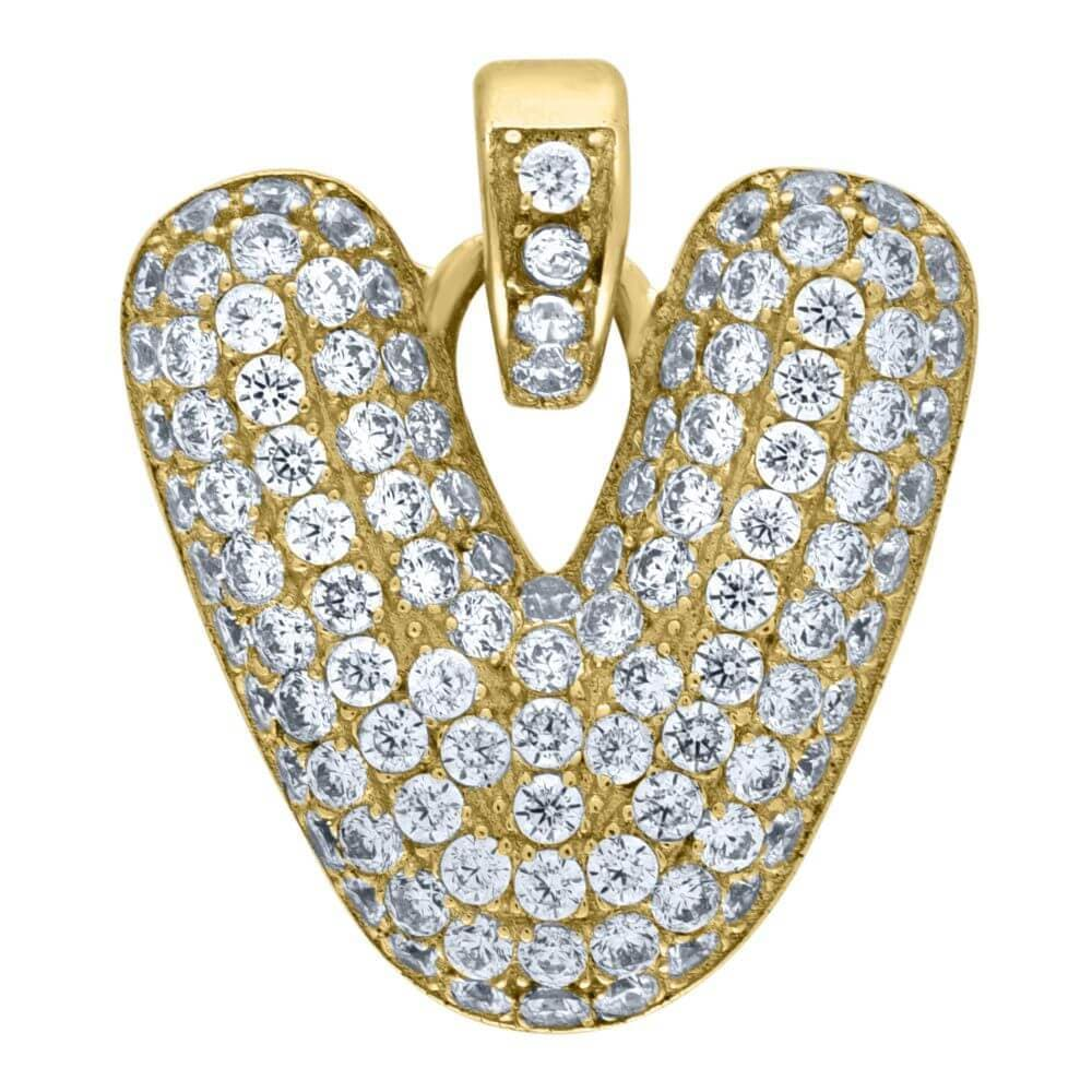 "10K Yellow Gold Iced Out CZ Bubble Initial Letter ""V"" Charm Pendant 2.1 Grams"