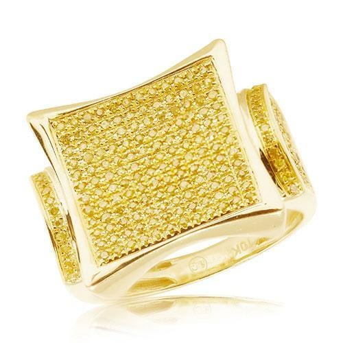 10K Yellow Gold 0.75CTW Yellow Diamond Men's Ring Size 10 - Jawa Jewelers