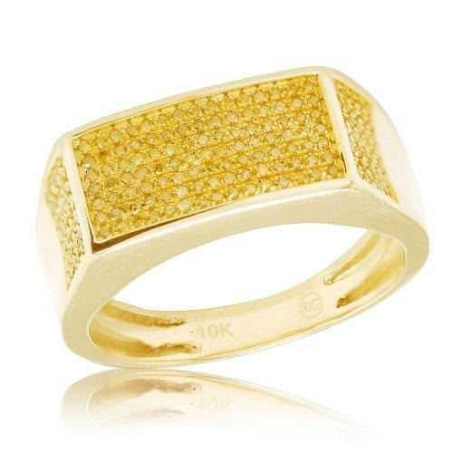 10K Gold 0.55CTW Yellow Diamond Fancy Mens Ring Size 10