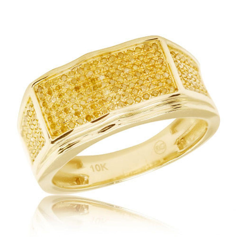 10K Yellow Gold 0.55ctw Yellow Diamond Men's Ring Size 10 - Jawa Jewelers