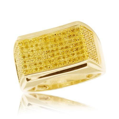 10K Gold 0.50CTW Yellow Diamond Men's Ring Size 10 - Jawa Jewelers