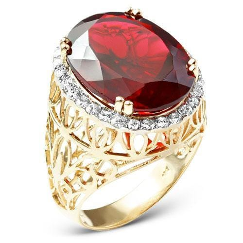 10K Gold 1.00CTW Diamond Men's Ring with 18.49CT Synthetic Ruby Size 10, Ring, JJ-AG, Jawa Jewelers