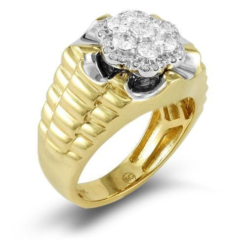 14K Yellow Gold 1.00ctw Diamond Men's Flower Diamond Ring size 10, Ring, JJ-AG, Jawa Jewelers