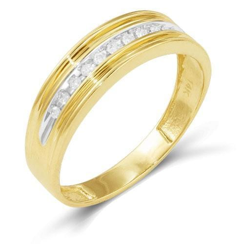 14K Yellow Gold 0.15ctw Diamond Men's Band size 10, Ring, JJ-AG, Jawa Jewelers