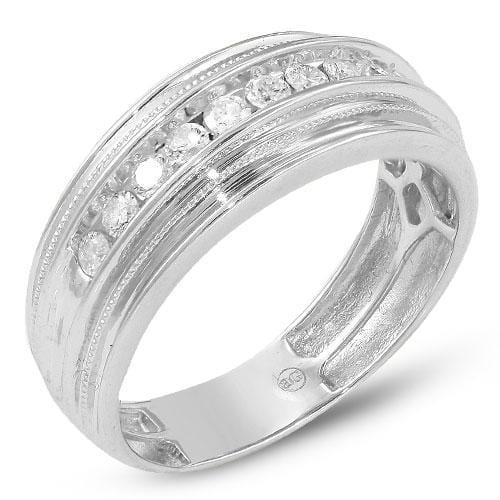 14K White Gold 0.50CTW 11-Stone Diamond Mens Bands size 10