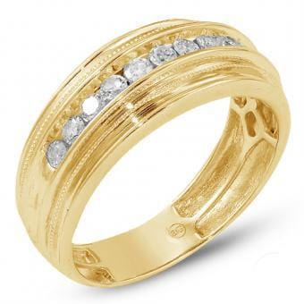 14K Gold 0.50CTW 11-Stone Diamond Men's Ring Band Size 10, Ring, JJ-AG, Jawa Jewelers