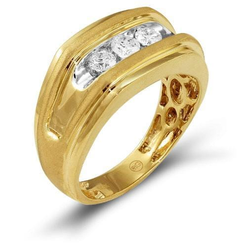 14K Gold 0.50CTW Diamond Men's 3-Stone Band Size 10, Ring, JJ-AG, Jawa Jewelers