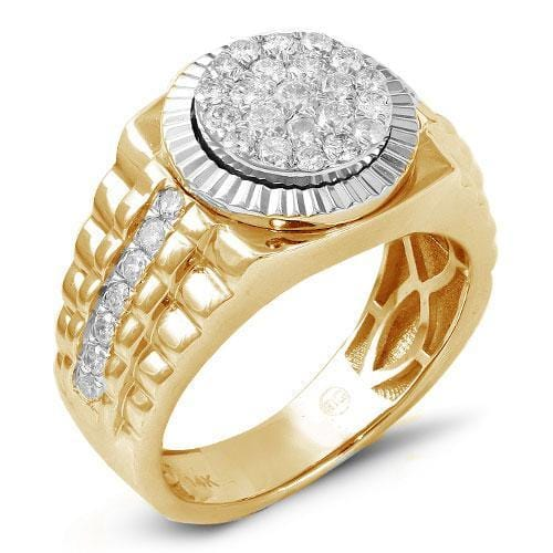 14K Yellow Gold 1.00ctw Diamond Men's Cluster Ring Size 10, Ring, JJ-AG, Jawa Jewelers