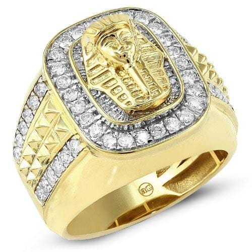 10K Gold 1.25CTW Diamond Men's Pharaoh Ring Size 10, Ring, JJ-AG, Jawa Jewelers
