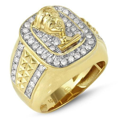 14K Yellow Gold 1.25ctw Diamond Men's Nefertiti Ring Size 10, Ring, JJ-AG, Jawa Jewelers
