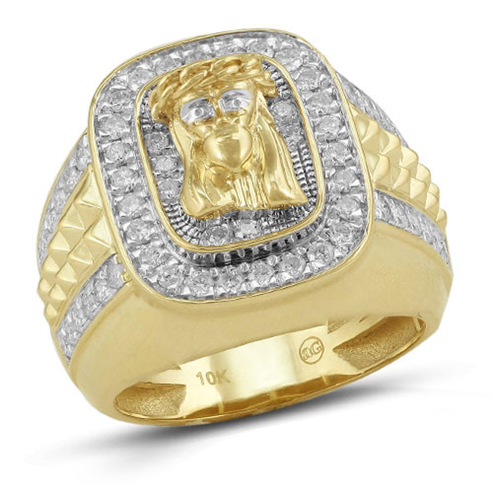 10K Gold 1.25CTW Diamond Mens Jesus Ring Size 10, Ring, JJ-AG, Jawa Jewelers