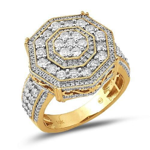 14K Gold 2.75CTW Diamond 6-Sided Men's Ring Size 10, Ring, Jawa Jewelers, Jawa Jewelers