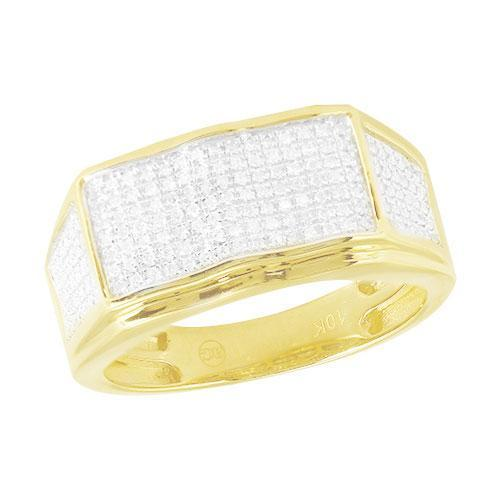 10K Yellow Gold 0.35ctw Diamond Micro Pave Mens Ring size 10 - Jawa Jewelers
