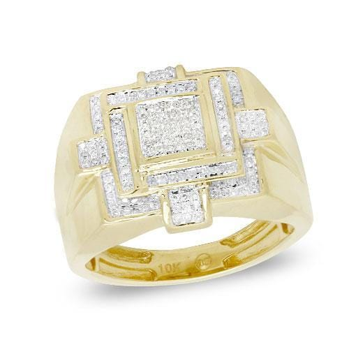10K Yellow Gold 0.35ctw Diamond Men's Ring Size 10
