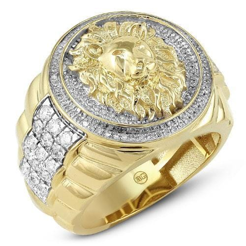 10K Gold 1.25 CTW Diamond Mens Lion Head Ring Size 10 - Jawa Jewelers