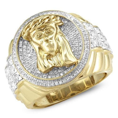10K Yellow Gold 1.25CTW Diamond Men's Jesus Ring Size 10, Ring, JJ-AG, Jawa Jewelers