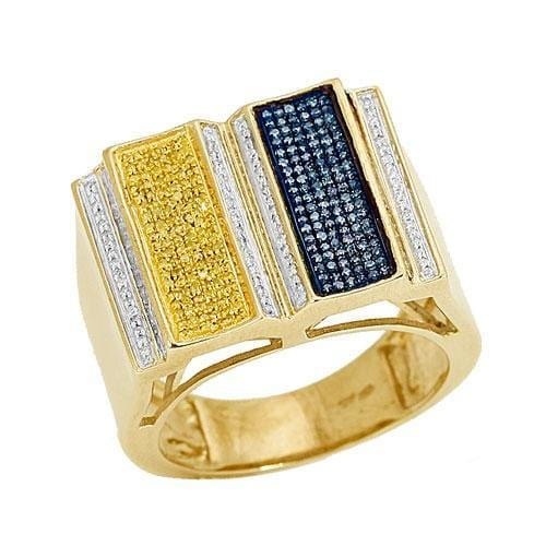 10K GOLD 1.00CTW 3-COLOR MENS RING SIZE 10 - Jawa Jewelers