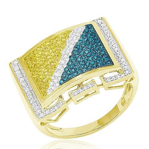 10K Gold 0.75CTW BD+WD+YD Micro Pave Diamond Mens Ring Size 10, Ring, JJ-AG, Jawa Jewelers