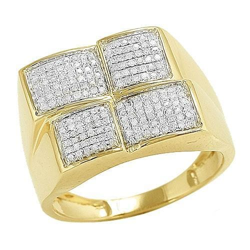 10K Gold 0.50CTW Micro Pave Diamond Mens Ring Size 10 - Jawa Jewelers