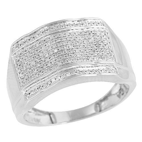 10K 0.50ctw Micro Pave Diamond Mens Ring Size 10, Ring, JJ-AG, Jawa Jewelers