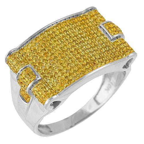 10K Gold 1.00CTW Micro Pave Yellow Diamond Mens Ring Size 10, Ring, JJ-AG, Jawa Jewelers