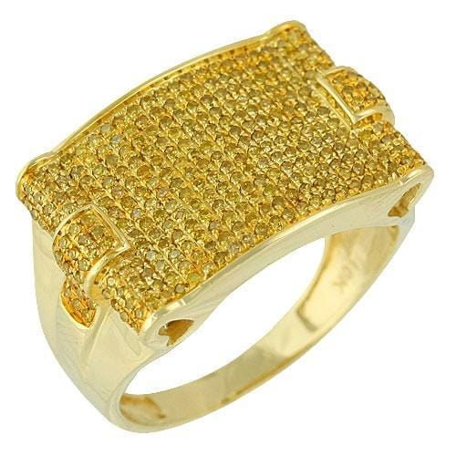 10K Gold 1.00CTW Micro Pave Yellow Diamond Mens Ring Size 10