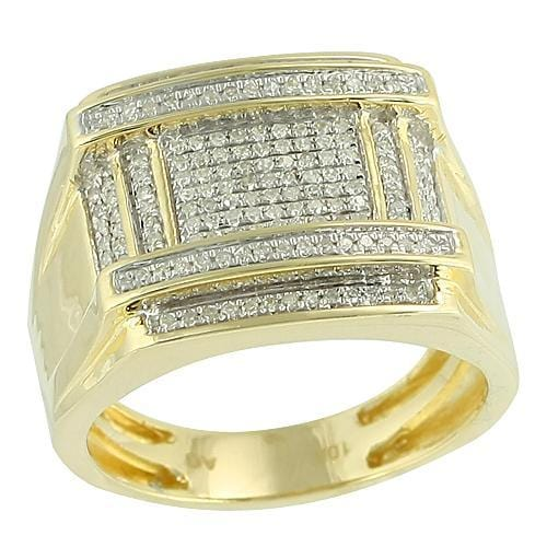 10K Gold 0.55CTW Micro Pave Diamond Mens Ring Size 10