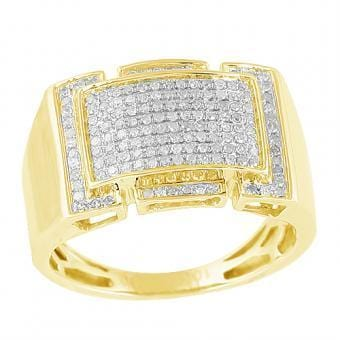 10k Yellow Gold 0.50ctw Micro Pave Diamond Mens Ring Size 10