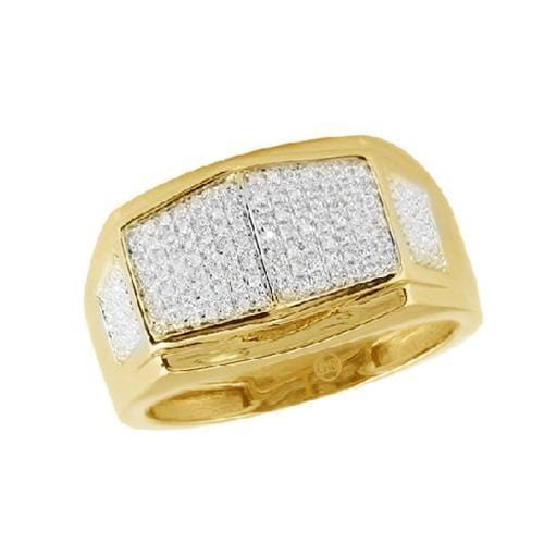 10K Yellow Gold 0.35ctw Micro Pave Diamond Men's Ring Size 10, Ring, JJ-AG, Jawa Jewelers