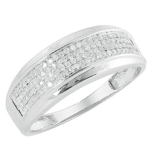 10K White Gold 0.50ctw Diamond Men's Band Size 10, Ring, JJ-AG, Jawa Jewelers
