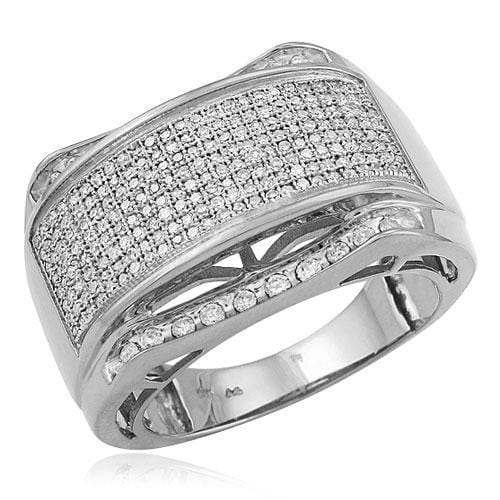 SS 1.00CTW Micro Pave Diamond Mens Ring in Sterling Silver Size 10, Ring, JJ-AG, Jawa Jewelers