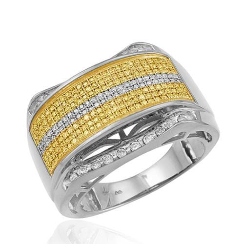 SS 1.00CTW Yellow and White Diamond Mens Ring in Sterling Silver Size 10, Ring, JJ-AG, Jawa Jewelers