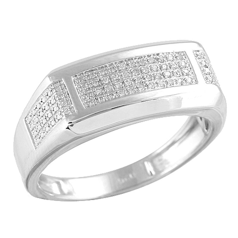 SS 0.15ctw Diamond Sterling Silver Men's Ring