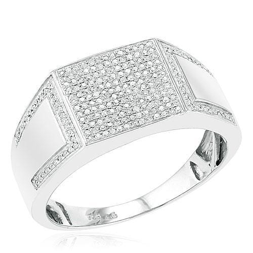 Sterling Silver 0.35ctw Micro Pave Diamond Mens Ring Size 10, Ring, JJ-AG, Jawa Jewelers