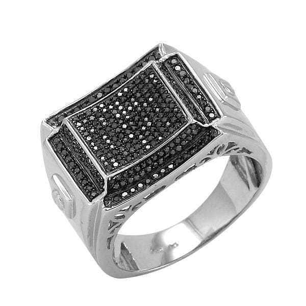 SS 0.50CTW Black Diamond Fancy Mens Ring Size 10, Ring, JJ-AG, Jawa Jewelers