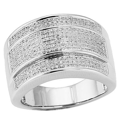 SS 0.55CTW Micro Pave Diamond Men's Ring Size 10, Ring, JJ-AG, Jawa Jewelers