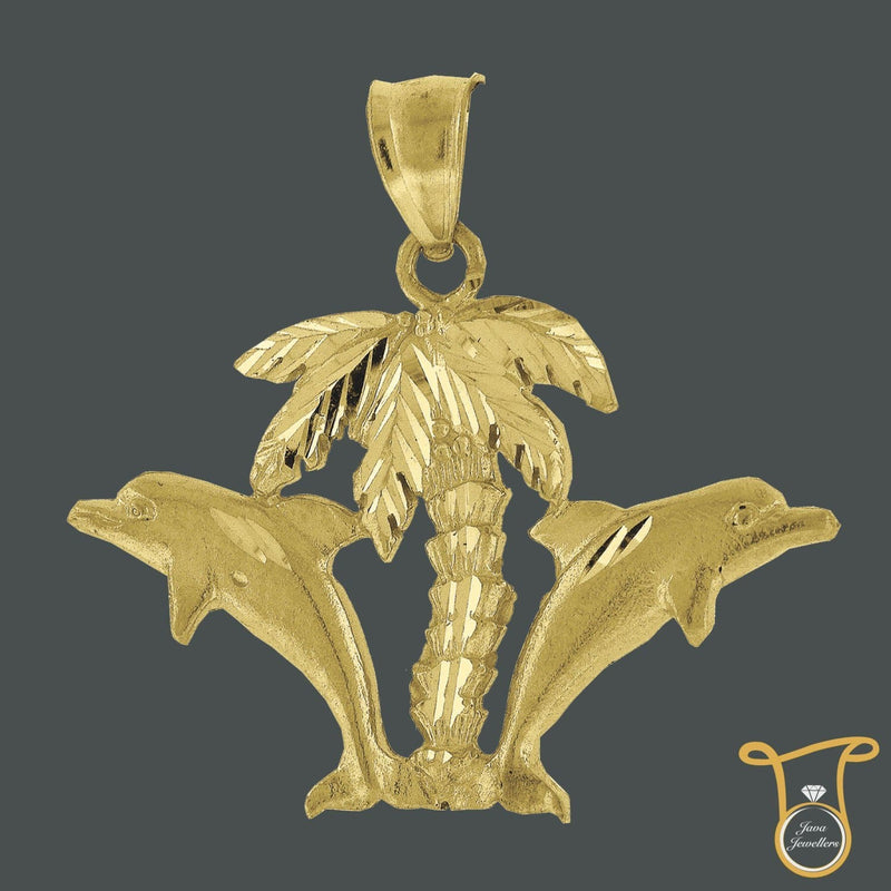 10kt Yellow Gold Hawaiian Palm Tree Double Dolphin Fashion Charm Pendant, Pendants, Silverine, Jawa Jewelers