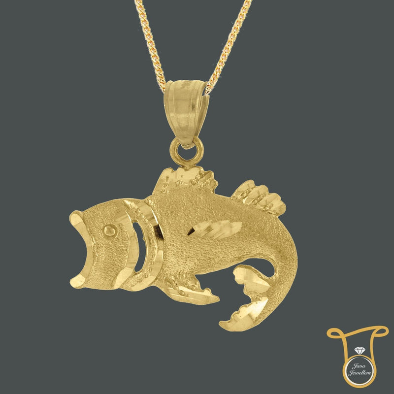 Women Fish Animal 10kt Yellow Gold Fashion Charm Pendant, Pendants, Silverine, Jawa Jewelers