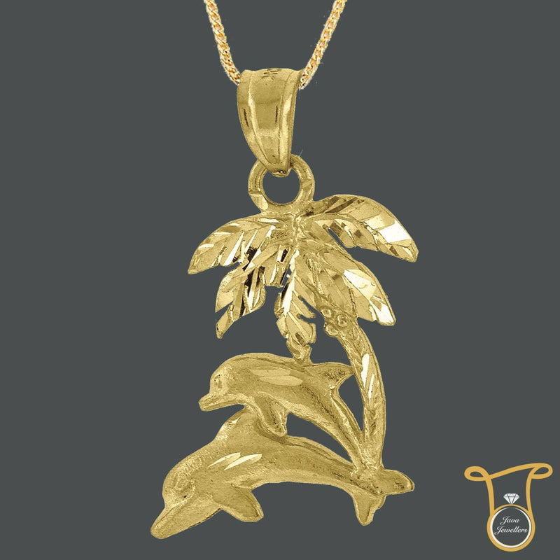 10kt Yellow Gold Tree Hawaiian Palm Animal Fashion Pendant, Pendants, Silverine, Jawa Jewelers
