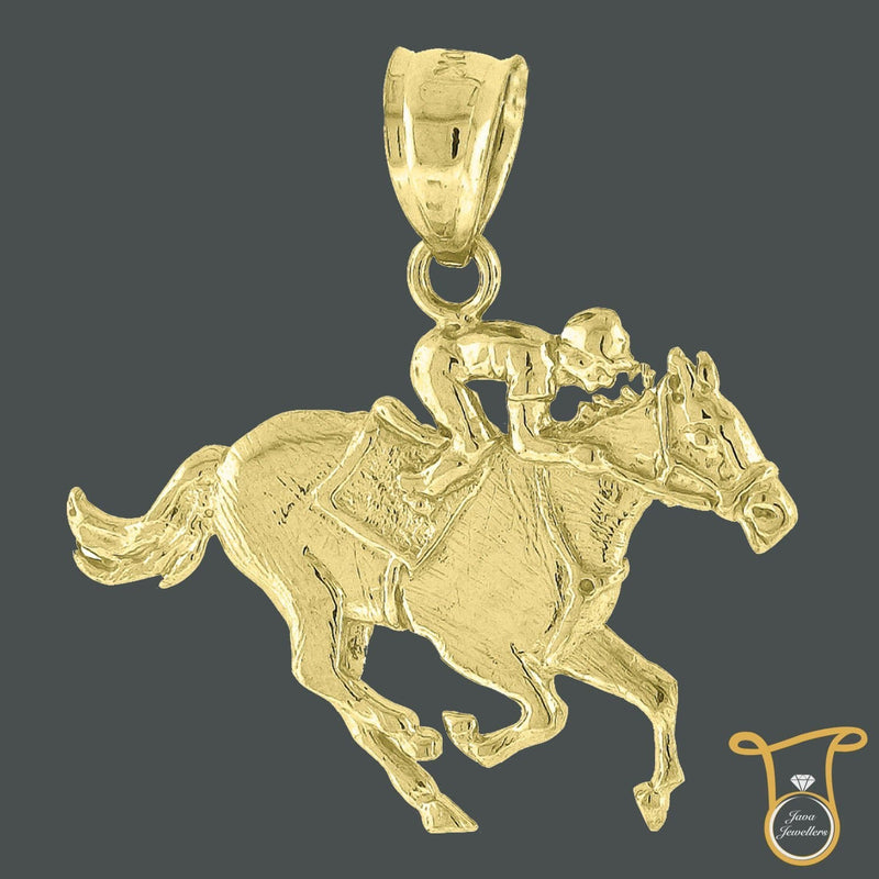 10kt Yellow Gold Jockey on Horse Animal Fashion Charm Pendant, Pendants, Silverine, Jawa Jewelers