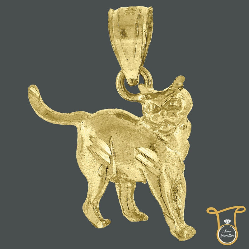 Yellow Gold Kitty Cat Animal Fashion Charm Pendant