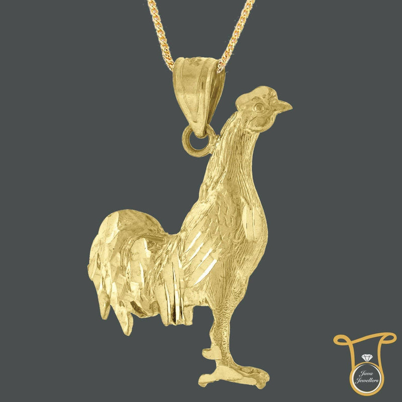 10kt Yellow Gold Rooster Animal Fashion Charms Pendant, Pendants, Silverine, Jawa Jewelers