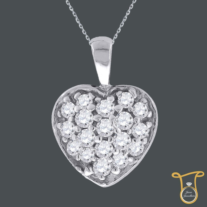 Womens Sterling Silver Round Cubic Zirconia CZ Heart Fashion Pendant, Ring, Silverine, Jawa Jewelers