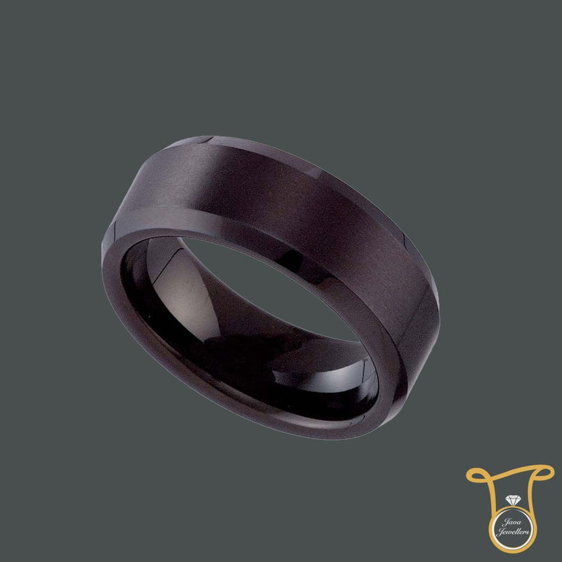 Tungsten Carbide Black Matte Finish 8mm Comfort-fit Wedding Band, Ring, Silverine, Jawa Jewelers