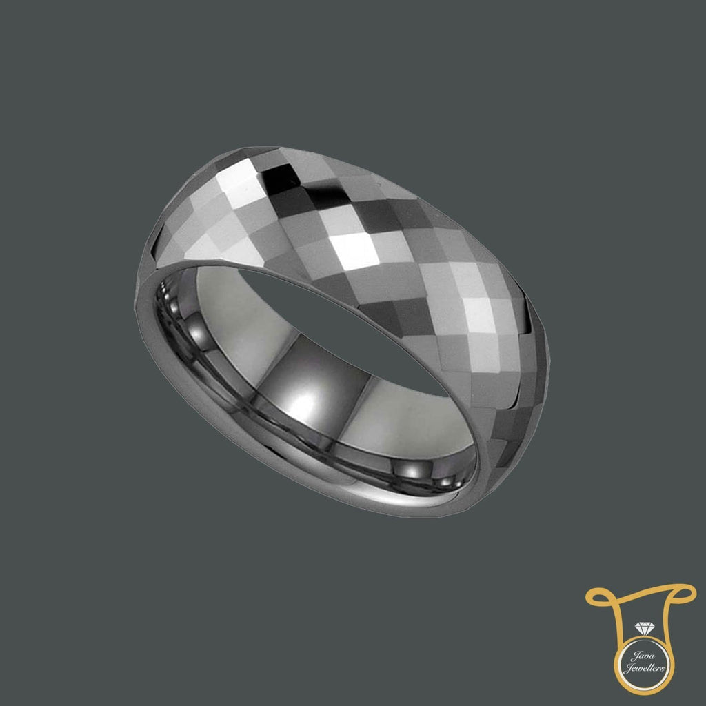 Tungsten Carbide Multi Faceted Comfort-fit 8mm Wedding Band, Ring, Silverine, Jawa Jewelers