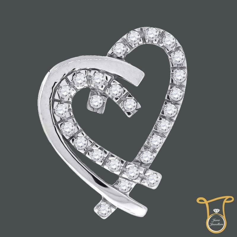 Womens Sterling Silver Round Cubic Zirconia CZ Heart Fashion Pendant